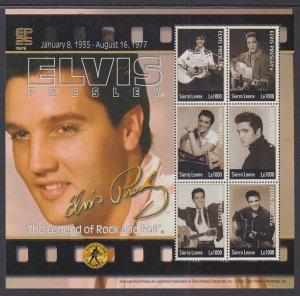 Sierra Leone MNH S/S Elvis Presley Rock & Roll Legend 6 Stamps