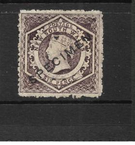 NEW SOUTH WALES 1860-72   6d   PURPLE   QV  MLH  SPECIMEN   P13  SG 165s