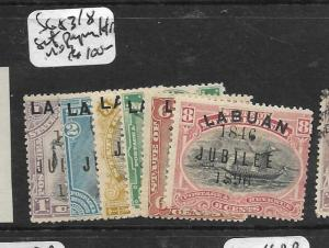 LABUAN (P0204B)  JUBILEE SET SG 83-8 PAPER HINGE REMNANTS MOG
