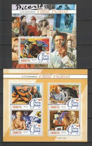 ST067 2016 GUINEA ART GREAT PAINTERS 135TH ANNIVERSARY PABLO PICASSO 1KB+1BL MNH