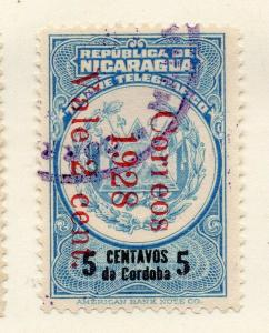 Nicaragua 1928 Early Issue Fine Used 5c. Surcharged Optd 323620