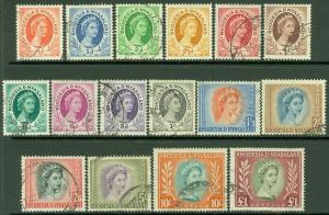 EDW1949SELL : RHODESIA & NYASALAND 1954-56 Sc #141-55 Cplt set. VF, Used Cat $63