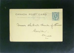 Canada 1906 Postal Card Modreal to Boston (Corner Crease) - Z2529