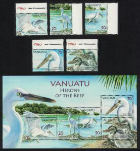 Vanuatu Birds Herons of the Reef 5v+MS Margins SG#989-MS994 MI#1314-1318+Block