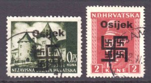 CROATIA 1945 LOCAL OSIJEK OVERPRINTS CDS VF SOUND x2