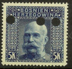 BOSNIA AND HERZEGOVINA 1906 5K FRANZ JOSEPH Invalidation Punch Holes Sc 45 MH