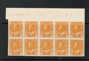 Canada #136 Extra Fine Never Hinged Plate #180 Top Block Of Ten