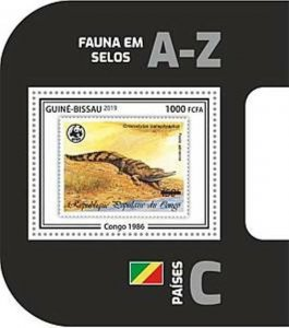 Guinea-Bissau - 2019 WWF Fauna Stamp on Stamp - Souvenir Sheet - GB190403b06