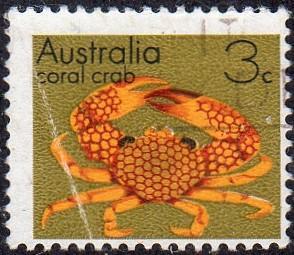Australia 556 - Used - 3c Coral Crab (1973) (1) +