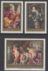 Liechtenstein #595-97MNH set, Rubens paintings, issued 1976