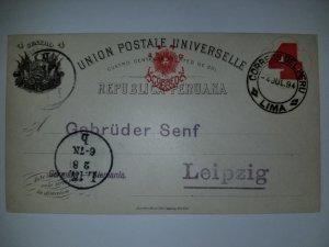 J) 1894 PERU, POSTCARD, POSTAL STATIONARY, NUMERAL 4 CENTS, CIRCULATED COVER, FR