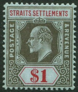 STRAITS SETTLEMENTS-1910 $1 Black & Red/Blue Sg 165 LIGHTLY MOUNTED MINT V50196
