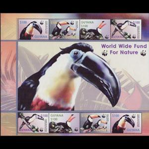 GUYANA 2003 - Scott# 3792e Sheet-WWF Toucans NH