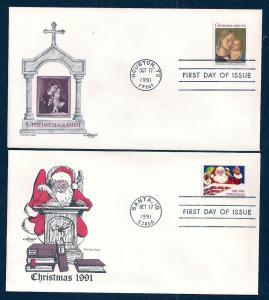 UNITED STATES FDCs (2) 29¢ Christmas 1991 Artmaster