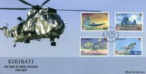 Kiribati 2009 FDC Naval Aviation 100th Anniv 4v Cover Helicopters Ships Stamps