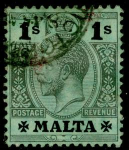 MALTA SG81, 1s black/green, used. Cat £42.