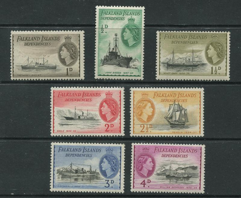Falkland Is Dep.- Scott 1L19-1L25-Definitive Issue-1954-MLH -Short Set 7 Stamps