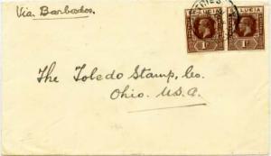 Saint Lucia 1d KGV (2) 1924 Castries, St. Lucia to Toledo, Ohio.