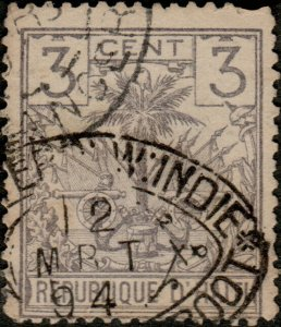HAÏTI - 1894 Mi.24 3c grey Palm Tree used DUTCH SHIP CANCEL