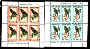 New Zealand-Sc#B63a-64a-two Unused NH sheets-Birds-id#2-1962-