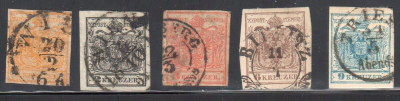 Austria #1 to 5 USED With CDS Cancel  ---#3 has a minot tear