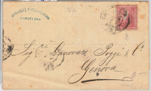 55909  -   SPAIN -  POSTAL HISTORY: Edifil 166 on  COVER to ITALY  1876