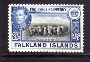 FALKLAND ISLANDS ISOLE 1938 FLOCK OF SHIP GREGGE DI PECORE KING GEORGE 2 1/2d...