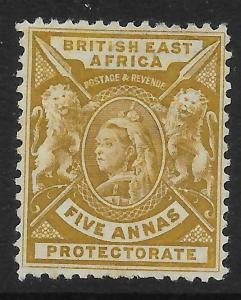 BRITISH EAST AFRICA SG72 1896 5a YELLOW-BISTRE MTD MINT