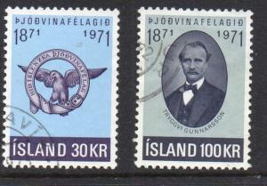 Iceland Sc 433-4 1971 Gunnarsson stamp set used