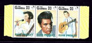 Gambia 1347 MNH 1993 Elvis Presley strip of 3  #2