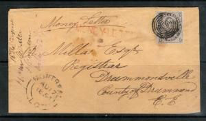 Canada #1 Very Fine Used On Money Letter Cover **With Certificate**