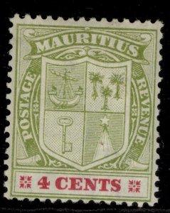 MAURITIUS EDVII SG184, 4c pale yellow-green & carmine, LH MINT.