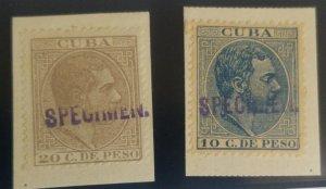 O) 1888 CUBA, SPECIMEN BRIEFST, KING ALFONSO XII - SC 130 10c,SC 131 20c,