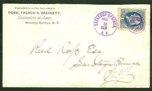 US  (1870) 1¢ Banknote tied Saratoga Springs NEG STAR IN CIRCLE fancy cancel