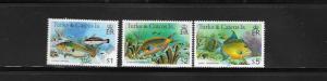 FISH - TURKS & CAICOS #372b-374b dated 1983  MNH
