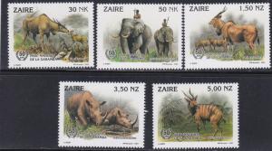 Zaire MNH 1403-7 Wild Animals SCV 8.85