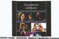 CHAD - 2020 - Singers, Marley, Wonder, Turner - Perf 4v Sheet -Mint Never Hinged
