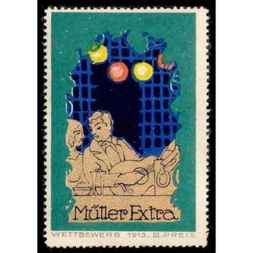 Muller Extra Champagne 1913 Advertising Poster Stamp (#1)