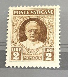 Vatican City Sc# 10 Pope Pius XI 2 Lira 1929 MNH (Mint Never Hinged)