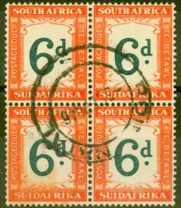 South Africa 1938 6d Green & Brt Orange SGD29a V.F.U Block of 4