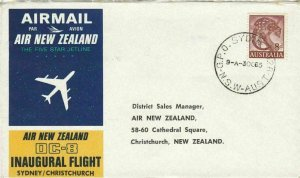 AIR NEW ZEALAND DC.8 INAUGURAL FLIGHT SIDNEY / CHRISTCHURCH  1965