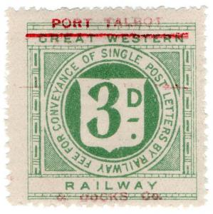 (I.B) Port Talbot Railway : Letter Stamp 3d (on GWR issue)