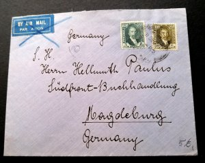 V.RARE IRAQ 1932 KING FAISAL I STAMP COVER TO GERMANY UNIQUE DESTINATION