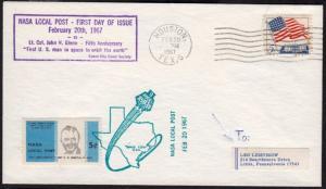 1967 NASA Local Post Feb 20th John Glenn  Houston TX