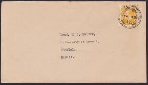 GILBERT & ELLICE IS 1922 cover to Hawaii, NZ GV 2d FANNING ISLAND cds......6185