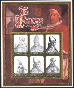 Uganda. 2000. Small sheet 2266-71. Millennium, history, pope. MVLH.
