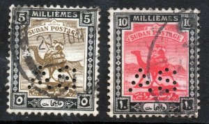 SUDAN 1922-24 Camel Postage Part Set  Perforated A S  SG A27 & SG A28 VFU
