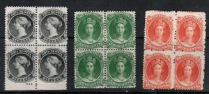 Nova Scotia #8 #11 #12 Mint Never Hinged Block Trio