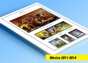 COLOR PRINTED MEXICO 2011-2014 STAMP ALBUM PAGES (36 illustrated pages)