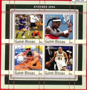 A0759 - GUINEA-BISSAU - ERROR  MISSPERF SHEET - OLYMPIC GAMES 2004 Tennis BASKET